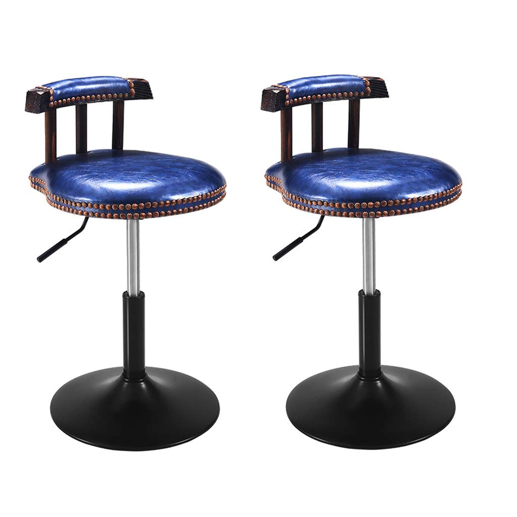 bluee×2 XLZ Bar Stool American Retro PU Leather Hydraulic Lift Adjustable Counter Dining Chair Black Leather Swizzle Low Stool 40-53CM Counter Chair,Breakfast Stool, (color   Black)
