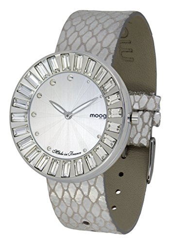 Silver Sun Dial (Moog Paris Sunshine Women's Watch with Silver Dial, Silver Genuine Leather Strap & Swarovski Elements - M45431-403)