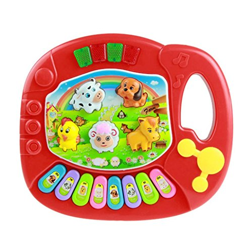 Iusun Baby Animal Farm Musical Piano Music Toys Children Early Educational Toy Intelligence Toy (Red)