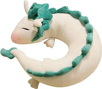 HYST Cute Spirit Dragon Plush Doll Toy U-Shape Neck Travel Pillow Gift Animation (White)