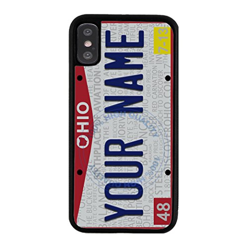 BleuReign Personalized Custom Name 2016 Ohio State License Plate Rubber Phone Case Back Cover for Apple iPhone X Xs Ten (Cleveland Indians Iphone 4s Case)