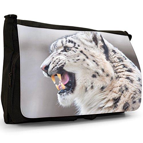 Shoulder Snow Black Bag Growling Large School Laptop Canvas Wild Leopard Messenger Cat rwqB0rF
