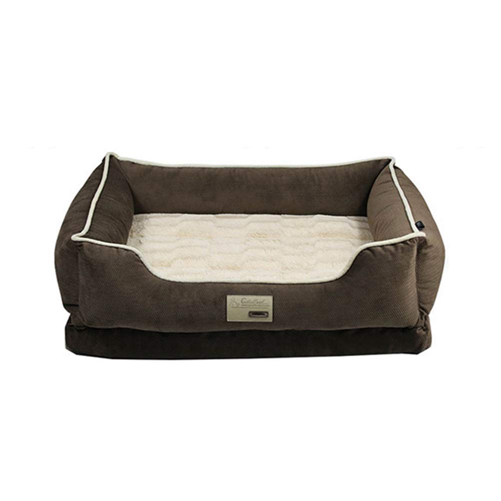 70×54×19cm ZXL Brown Orthopedic Dog Bed, Super Soft Sleep Surface Pet Cuddler, Rectangular Pet Bed with Removable Cover (Size   70×54×19cm)