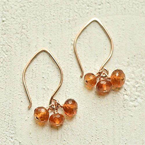 Hessonite garnet earrings 14kt rose (Bohemian Garnet Earrings)