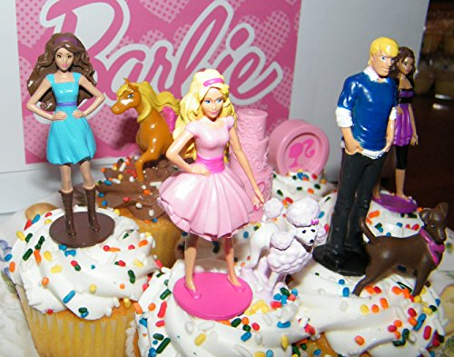 Amazon Com Barbie Ken And Friends Toy Doll Figure Birthday Cake Toppers Cupcake Party Favor Decorations Set Of 9 Kitchen Dining