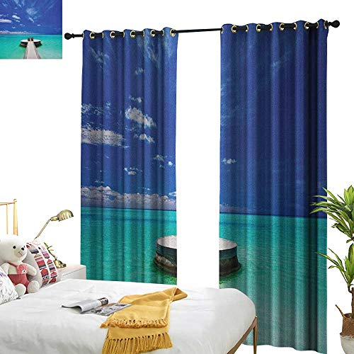 WinfreyDecor Insulated Sunshade Curtain Beach Idyllic Maldives Lagoon Honeymoon Romance Holiday Vacation Seaside Picture Darkening and Thermal Insulating W96 x L84 Turquoise Blue White