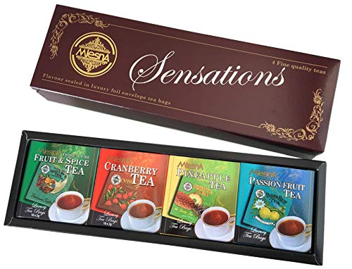 Sensations Pure Ceylon Tea Flavored Tea Selection, Foil Envelope 10 Tea Bags of Fruit and Spice, Pineapple, Passion Fruit and Cranberry - Total 40 count Gift Box ()