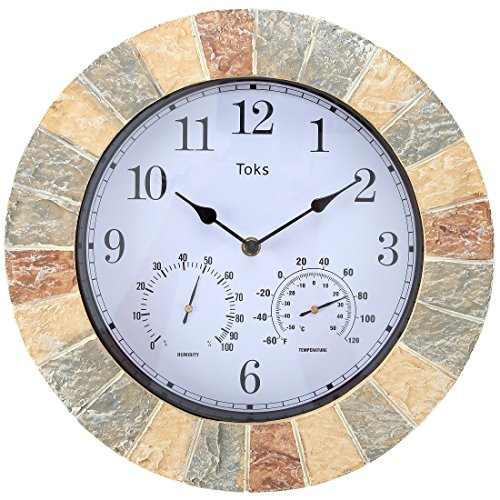 Outdoor Clock Atomic Wall - Lily's Home Hanging Wall Clock, Includes a Thermometer and Hygrometer and is Ideal for Indoor and Outdoor Use, Wonderful Housewarming Gift for Friends, Faux-Stone (14 Inches)