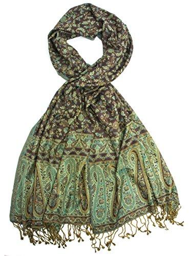 Bohomonde, Bhayana Reversible Cashmere Silk Pashmina Scarf, hand made in India (Green/Brown)
