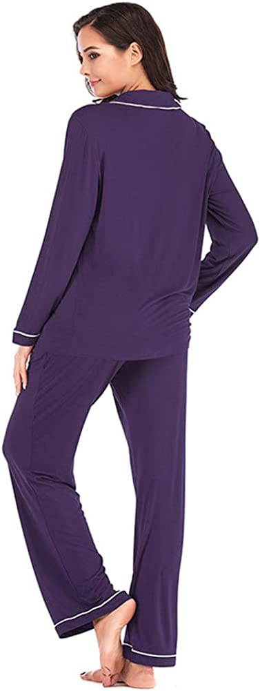OCCIENTEC Pajama Set for Women Super Soft Long Sleeve Sleepwear Women/'s Button Down Nightwear Loungewear PJ Set