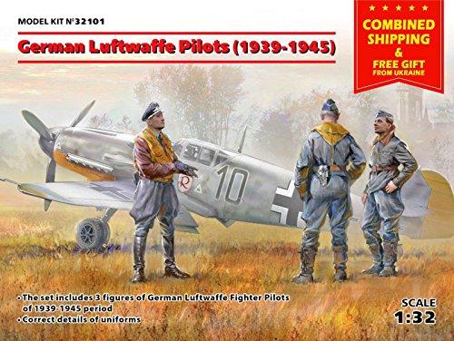 ICM 32101 SCALE 1/32 GERMAN LUFTWAFFE PILOTS WWII PLASTIC MODEL FIGURES KIT ()