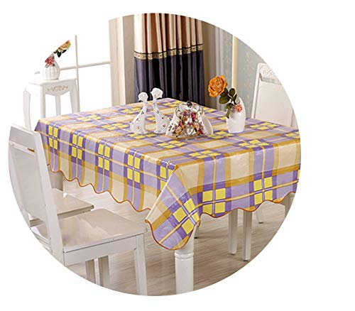 yunzhongke Thickened Plastic Tablecloth Waterproof Tea Table Cover Oil Cloth Tablecloths Anti-Greasy Table Cloth,Color 9,106X152Cm