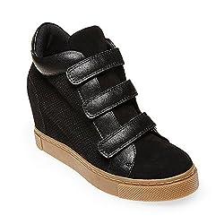 Steve Madden Women's Logaan Fashion Sneaker, Black Suede, 5 M US