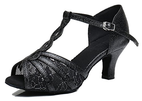 Black Mesh Heel Ballroom T TDA Latin Womens 6cm Shoes Synthetic Wedding Dance Comfort Modern Strap 4gR46qwf