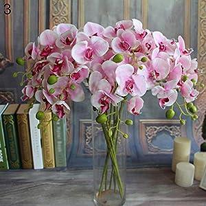 Connoworld--Artificial Butterfly Orchid Silk Flower Home Wedding Decor Phalaenopsis Bouquet - Pink 1pcs 3