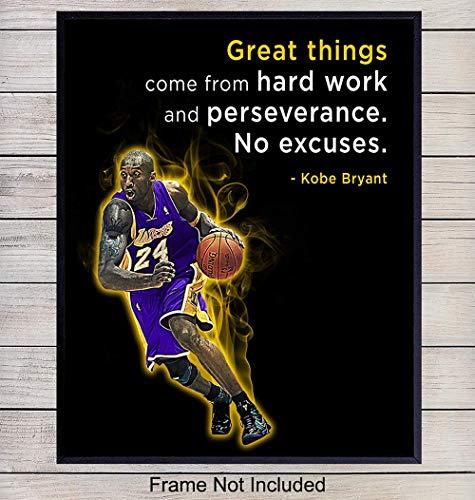Kobe Bryant Motivational Quote Wall Art - 8x10 Basketball Photo Print - Gift for Hoops Team Coach, LA Lakers Fan, Entrepreneur, Teacher - Home and Office Decor, Boys Room, Teen Bedroom, Classroom from Yellowbird Art & Design