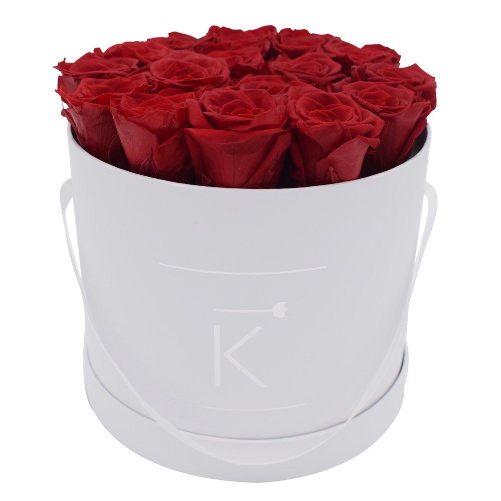 Triple K Rosenbox Round Weiß, Infinity Rosen, bis 3 Jahre Haltbar, Flowerbox Geschenkbox Inklusive Grußkarte und Rose-Raumduft (Medium, ROT)
