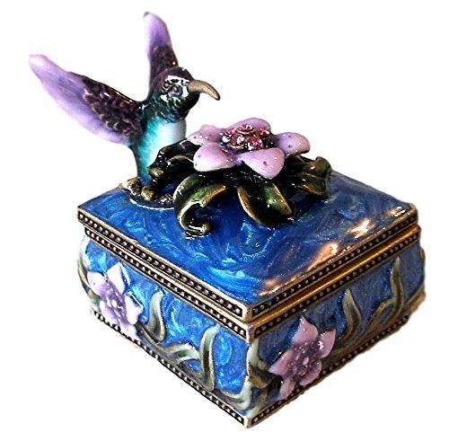 Trinket Flower Enamel Box - Welforth Jeweled Enamel Purple Hummingbird & Flower on Blue Enamel Trinket Box