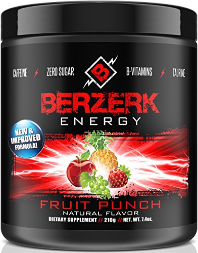 Berzerk Energy Drink Mix Powder Fruit Punch - 30 Servings - (New - Drink Mix Energy