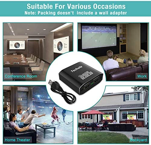 HDMI Splitter 1 in 2 Out - Techole 4K Aluminum Ver1.4 HDCP, Powered HDMI Splitter Supports three-D 4K@30HZ Full HD1080P for Xbox PS4 PS3 Fire Stick Roku Blu-Ray Player Apple TV HDTV
