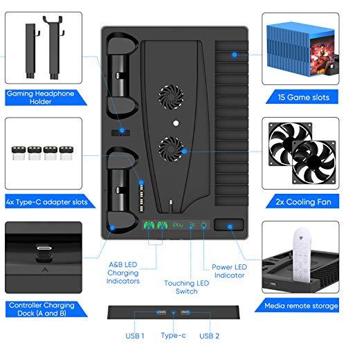 Suporte de ventoinha de refrigeração para console PlayStation 5 e PlayStation 5 Digital Edition, estação de carregamento…