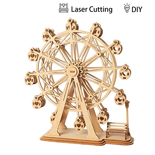 ROBOTIME 3D Wooden Puzzle Toy Wood Craft Building Kits Best Model Kit Great Gifts for Girls and Women(Ferris Wheel) ()