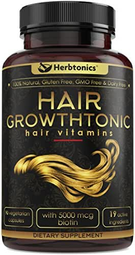 Hair Growthtonic™ Hair Growth Vitamin Scientifically Formulated for Women Men - Hair Skin & Nails Vitamins for Healthier Stronger Hair - 90 Capsules with Biotin & Keratin Supplement