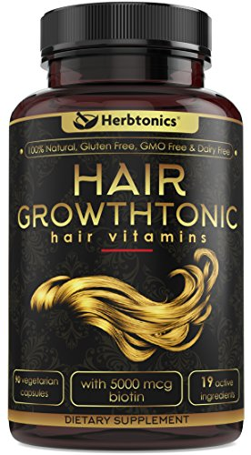 Hair GrowthtonicTM Hair Growth Vitamin for Women Men Hair Skin Nails Vitamins for Healthier Stronger Hair - 90 Capsules with Biotin & Keratin, Hair DHT Blocker Hair Loss Hair thinning Supplement