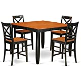 East West Furniture FAQU5H-BLK-W 5 Piece Table and 4 Bar Stools Set For Sale