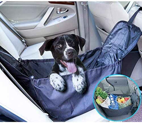 SUKCESO Waterproof Car Seat Organizer. Dog Booster Seat. Durable Scratch Proof Dog Hammock for Back Seat, Suitable for Small and Medium Pets Black