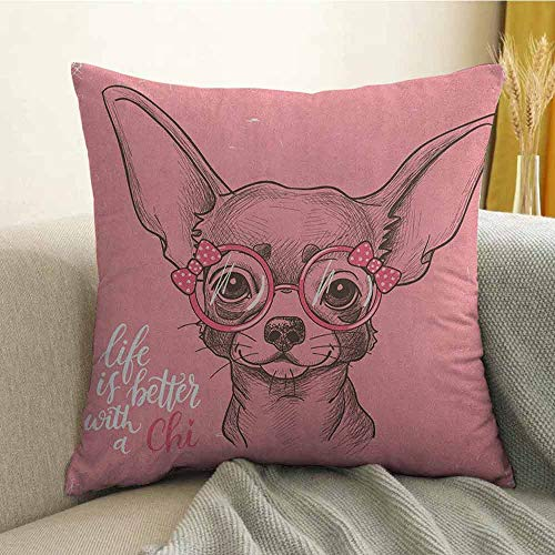 Dog Bedding Soft Pillowcase Girl Chihuahua Sketch Illustration with Quote Fashion Glasses Ribbons Puppy Hypoallergenic Pillowcase W24 x L24 Inch Pale Pink Army Green