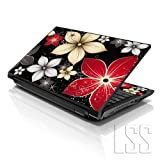 LSS Laptop 17-17.3' Skin Cover with Colorful Black Grey Flower Leaves Pattern for HP Dell Lenovo Apple Asus Acer Compaq - Fits 16.5' 17' 17.3' 18.4' 19' (2 Wrist Pads Free)