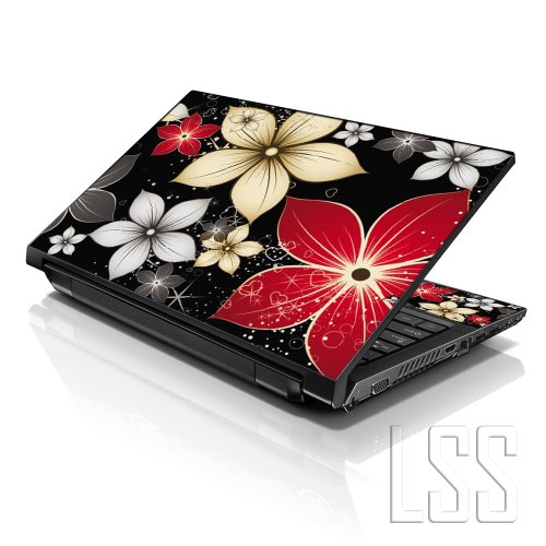(LSS Laptop 15 15.6 Skin Cover with Colorful Black Grey Flower Leaves Pattern for HP Dell Lenovo Apple Asus Acer Compaq - Fits 13.3