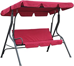 YY FLY Patio Swing Garden Swing Outdoor Swing with Canopy Porch Swings 3-Seater Swing with Strong Frame… (red)
