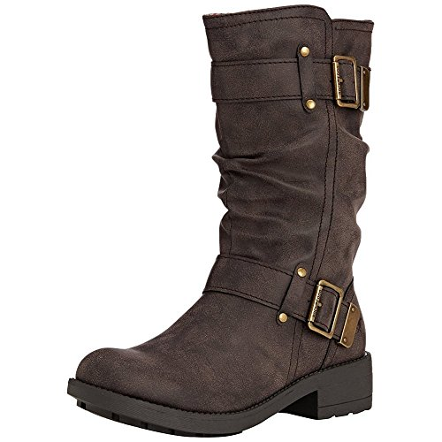 Brown Biker Boots For Women - 6