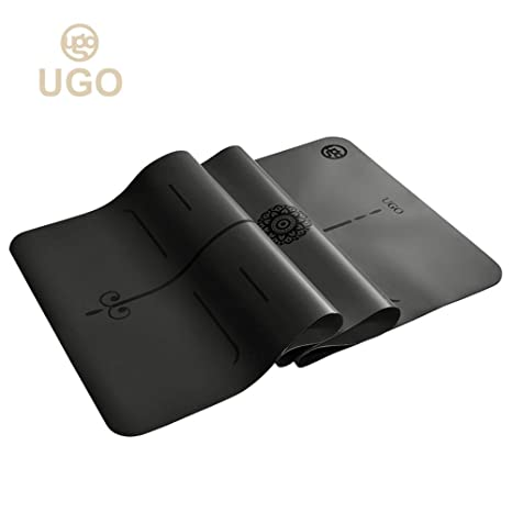 Ugo Yoga Mat Pilates and Floor Exercises Fitness Eco Friendly PU and Natural Rubber Non-Slip Travel Mat with Carrying Strap(2MM/5MM)