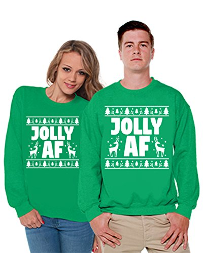 Awkward Styles Matching Jolly AF Sweatshirts For Couples Ugly Matching Christmas Sweaters For Couples Green Green Men X-Large/Ladies (Gangsta Couple Costume)