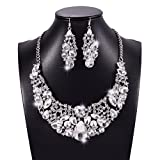 Yuhuan Women Alloy Crystal Necklace and Earring Set Wedding Jewelry Necklace (N180)