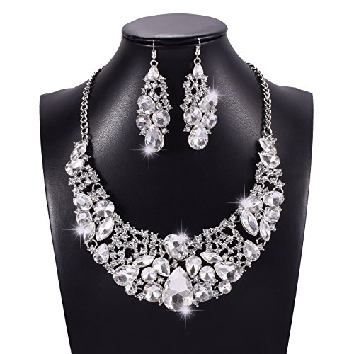 (Yuhuan Women Alloy Crystal Necklace and Earring Set Wedding Jewelry Necklace (N180))