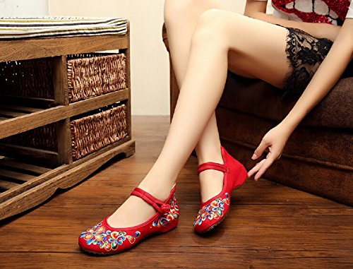 Broderie Jane Femme Style Chinois De Chaussures Lazutom Mary Randonne Dcontracte Rouge PqZwCx