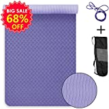 Banne Yoga Mat, 1/4 inch Anti-Tear Non-Slip Multifunctional Eco-Friendly TPE Exercise Mat for Pilates Fitness Workout with Carrying Strap(Purple)