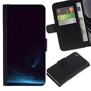Billetera de Cuero Caso Titular de la tarjeta Carcasa Funda para Apple Iphone 4 / 4S / Cosmos Universe Sky Night Horizon Deep / STRONG