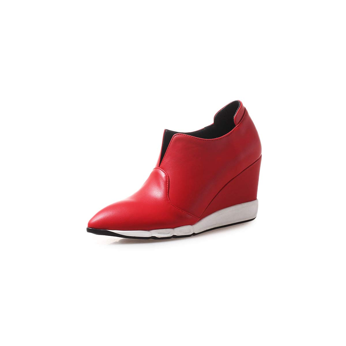 Yukun Schuhe mit hohen Absätzen Keil-Einzelschuh-weibliche Plattform-Schuhe Mode-tiefer Mund Spitze Starke hohe Absätze faul