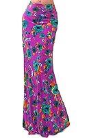 VIVICASTLE Women's Colorful Printed Fold Over Waist Long Maxi Skirt