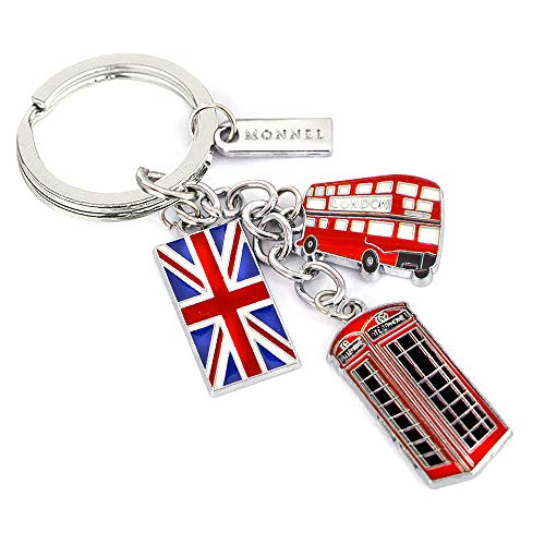 Monnel New Red London Bus Flag Phone Box Metal Charms Keychain with Velvet Bag Z148-E