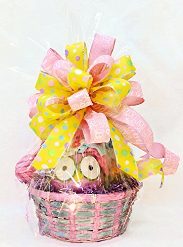 Baby Girl Gift Basket - Baby Shower - Plush Starfish Rattle - Owl Vase - Wash Clothes - Diapers - Double Bow - Homemade - Newborn - Pink ()
