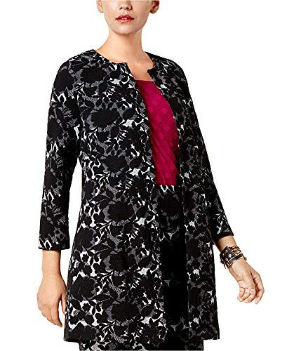 Alfani Womens Jacquard Coat, Black, Medium
