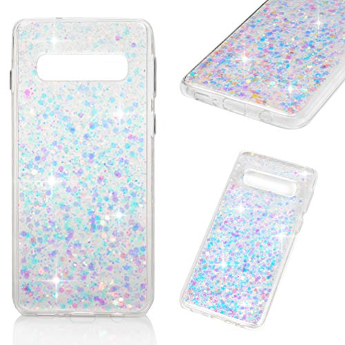 (Galaxy S10 Case, Crystal Clear Bling Shiny Glitter Shimmer Pieces Drop Resistant Shockproof Soft TPU Bumper Frame Acrylic Shell Back Shock Absorption Ultral Slim Cover for Samsung Galaxy S10 - Purple)