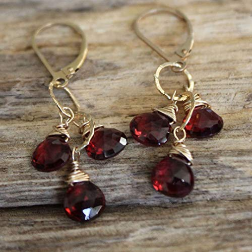 Handmade Garnet Earrings for Women   Heart Shaped Facets of 8mm Almandine Garnet Gemstone Earrings with 14K Gold Wire and Dangles   Root Chakra Stone   ()