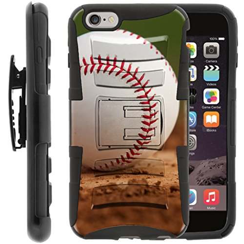 TurtleArmor | Compatible with Apple iPhone 6 Case | iPhone 6s Case [Hyper Shock] Armor Solid Hybrid Kickstand Impact Silicone Holster Belt Clip Sports and Games - Baseball Dirt (Ipod 4g Case Camo)